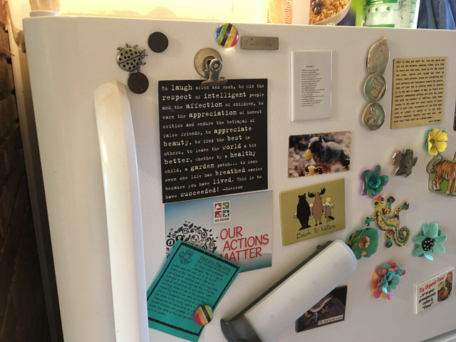 The card on our fridge reminds us how a garden patch makes the world a better place.