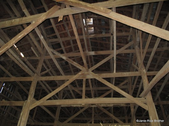 Framing inside a tobacco barn