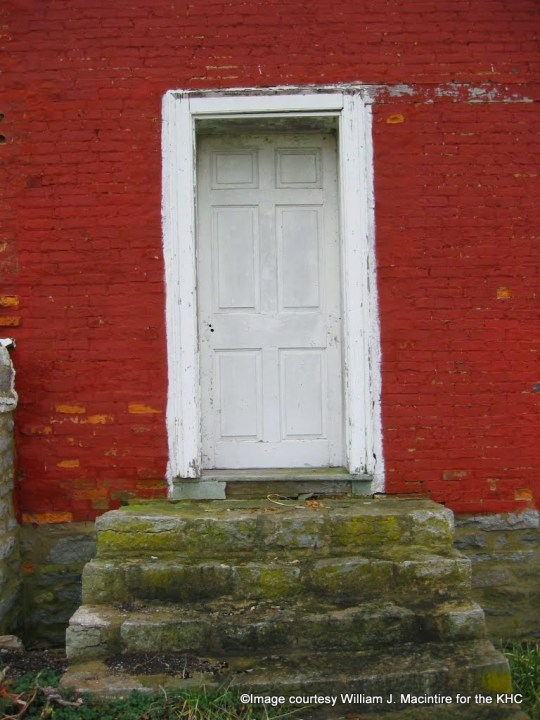 Doorway on west elevation of house