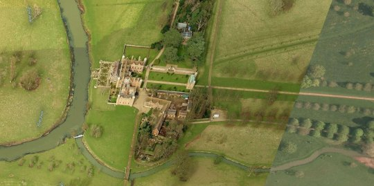 Aerial view of Charlecote Park, from Bing Maps.