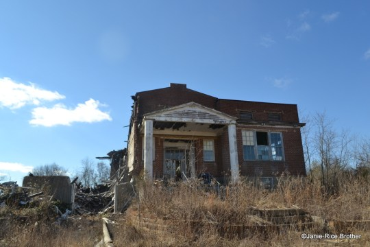 Missing its left bay, the Rectorville Consolidated School is still an arresting sight.