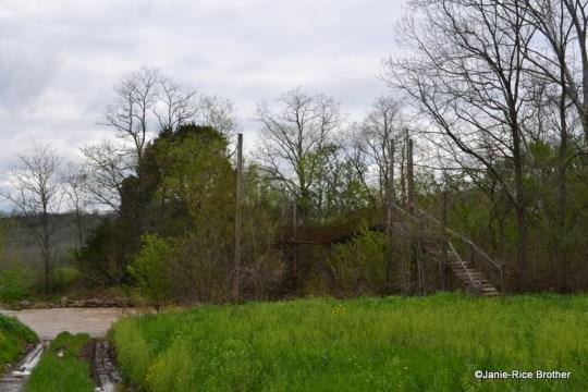 This suspension bridge crosses Johnson Creek in Piqua.