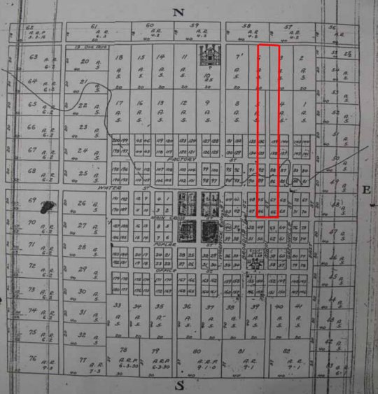 The 1818 plat of Harrodsburg - the area outlined in red shows the North Main Street Historic District.