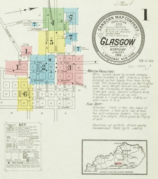 A section of Glasgow's 1916 Sanborn map index page.