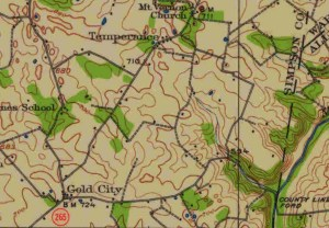 Gold City, on a 1921 topographic quad mad.