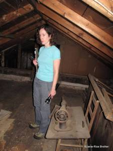 Sometimes when you crawl around in an attic in the summer to inspect saw marks, you don't look very happy...