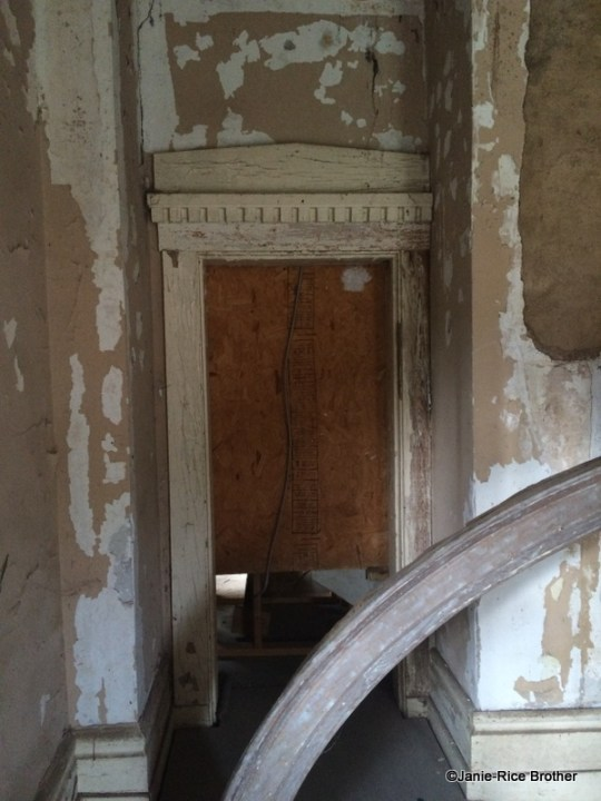 A door surround on the first floor, in what was Senator Pope's office.