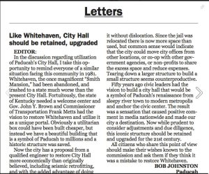 A letter to the editor about the Paducah City Hall, in the Paducah Sun.
