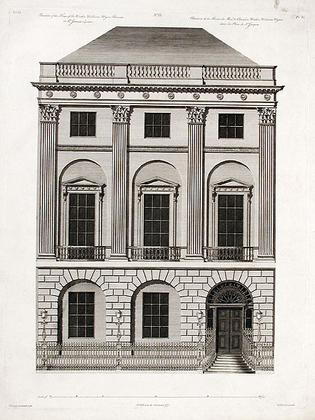 Engraving of the Robert Adam House at #20 St. James. http://commons.wikimedia.org/wiki/File:RobertJamesAdamengravedJohnRobertsfacadeWatkinWilliamsWynnStJames1777.jpg