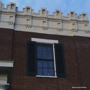 A detail of the crenelalted parapet on the 1840s James Burnie Beck House - a Greek Revival house (designed by John McMurtry, according to Clay Lancaster) with Gothic Revival elements. High Street, Lexington, Kentucky.