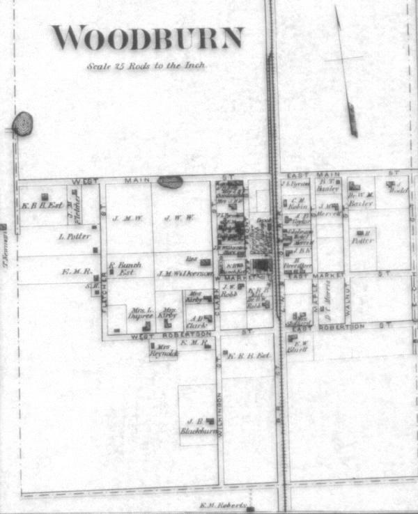 Woodburn, as seen on the 1877 Atlas of Warren County, Kentucky.