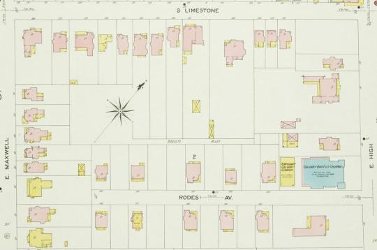 A portion of the 1907 Sanborn map showing the area in question.