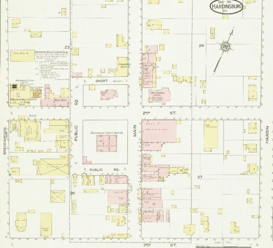 Section of the 1916 Sanborn Fire Insurance Map of Hardinsburg.