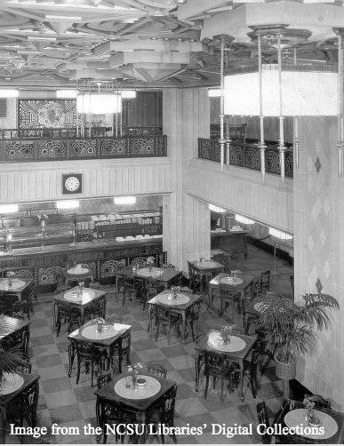 Interior of the upper level of the S&W Cafeteria, looking downstairs. Item #aam_DE03300_0011
