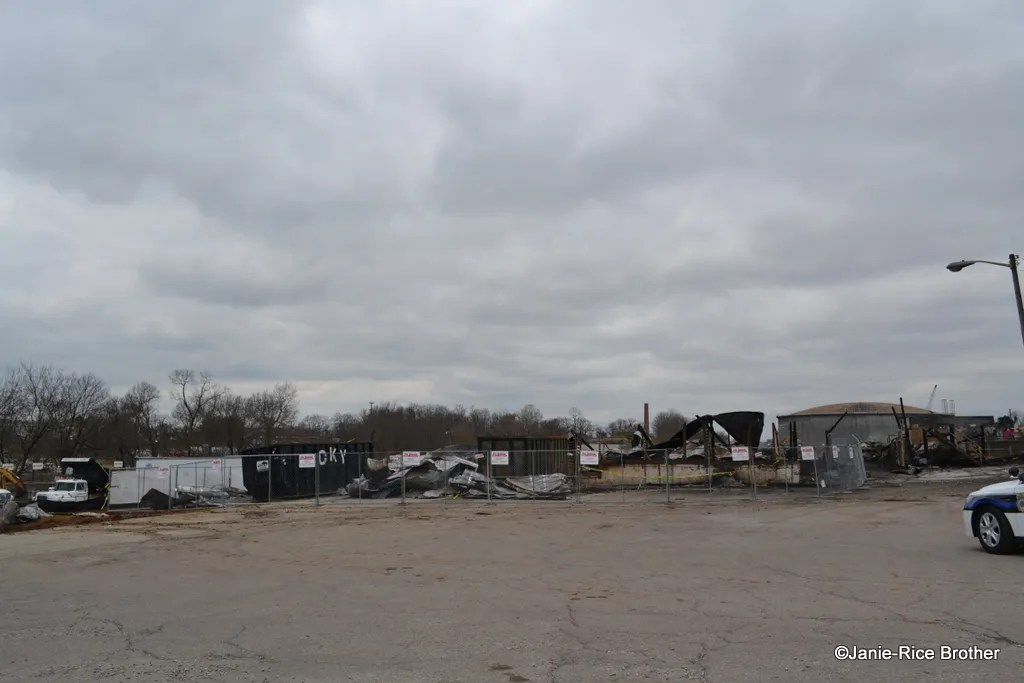 The charred remains of the stockyard pens.