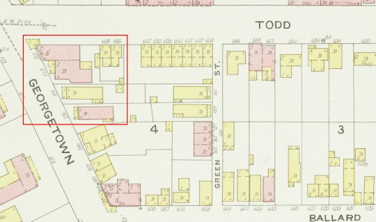 This section of the 1907 Sanborn Fire Insurance map shows the area of the reborn garden - a space of dense urban development.