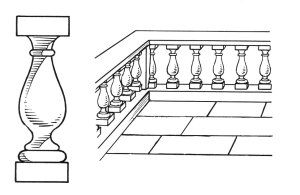 A nice detail of a single baluster (on the left) and a balustrade (on the right). Archives of Pearson Scott Foresman, donated to the Wikimedia Foundation.