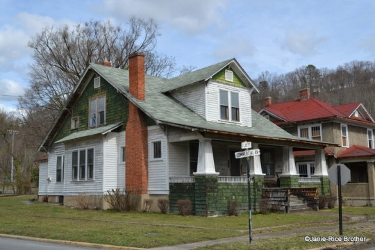 Often, the bay windows found on bungalows are square, like this example in Clifton Forge, Virginia.