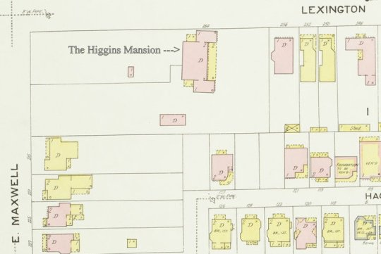 A section of the 1907 Sanborn Fire Insurance Map of Lexington, showing the Higgins Mansion, still in the middle of a sizable parcel.