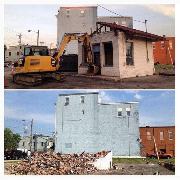 Photograph of the demolition from Preservation Collective, https://www.instagram.com/p/BIQlnLxhApZ/?taken-by=preservethenati