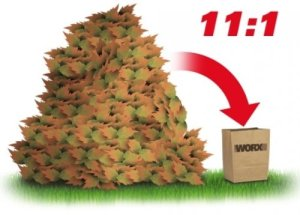 Worx WG430 shreds leaves at an 11:1 ratio