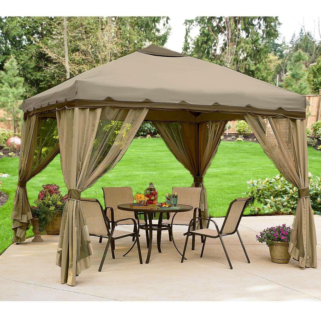10 X 10 Portable Gazebo Replacement Canopy And Netting