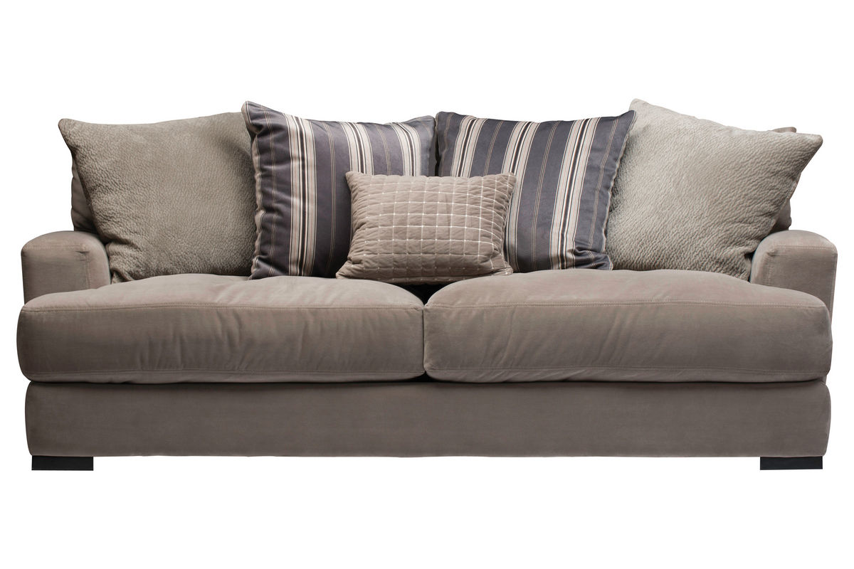 Jonathan Louis Sofa Low Profile Nailhead Accented 41 Sofa In Oyster Gray Mathis TheSofa