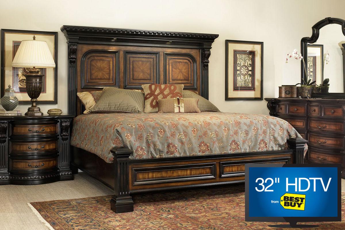 Cabernet King Platform Bedroom Set With 32 Tv At Gardner
