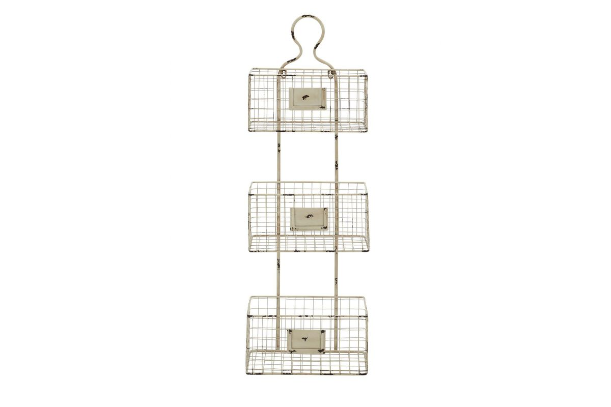 Farmhouse Rustic Distressed Iron Wire 3 Tier Wall