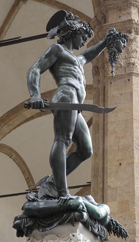 Cellini's Perseus with the Head of Medusa in the Loggia dei Lanzi of the Piazza della Signoria in Florence, Italy