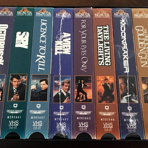 James Bond VHS tape collection Roger Moore Sean Connery Timothy Dalton