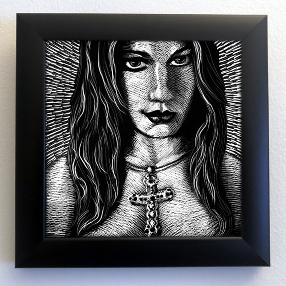 Original framed scratchboard art by Kurt Brugel