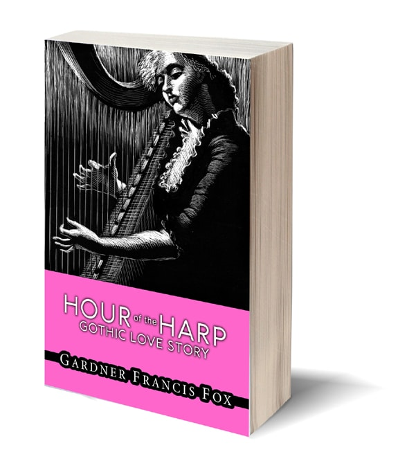 Hour of the Harp by Gardner f Fox writing as Lynna Cooper Book cover design by Kurt Brugel with original scratchboard art