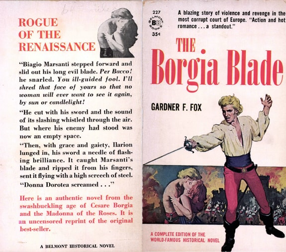 Original front and back cover for 1954 Borgia Blade by Gardner F Fox