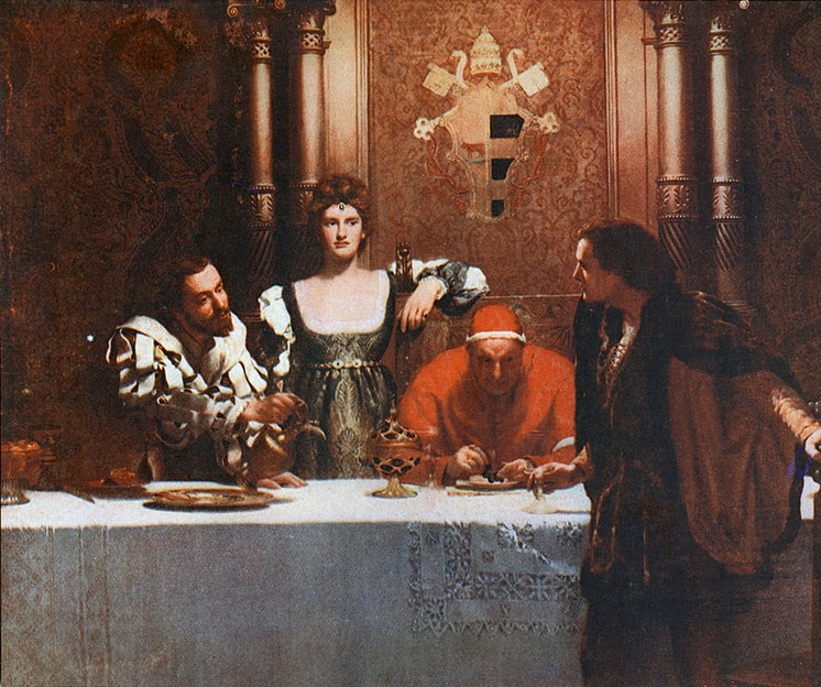 Painting by John Collier, A glass of wine with Caesar Borgia Painting