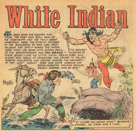 Splash page comic book art by Frank Frazetta from The White Indian written by Gardner f Fox