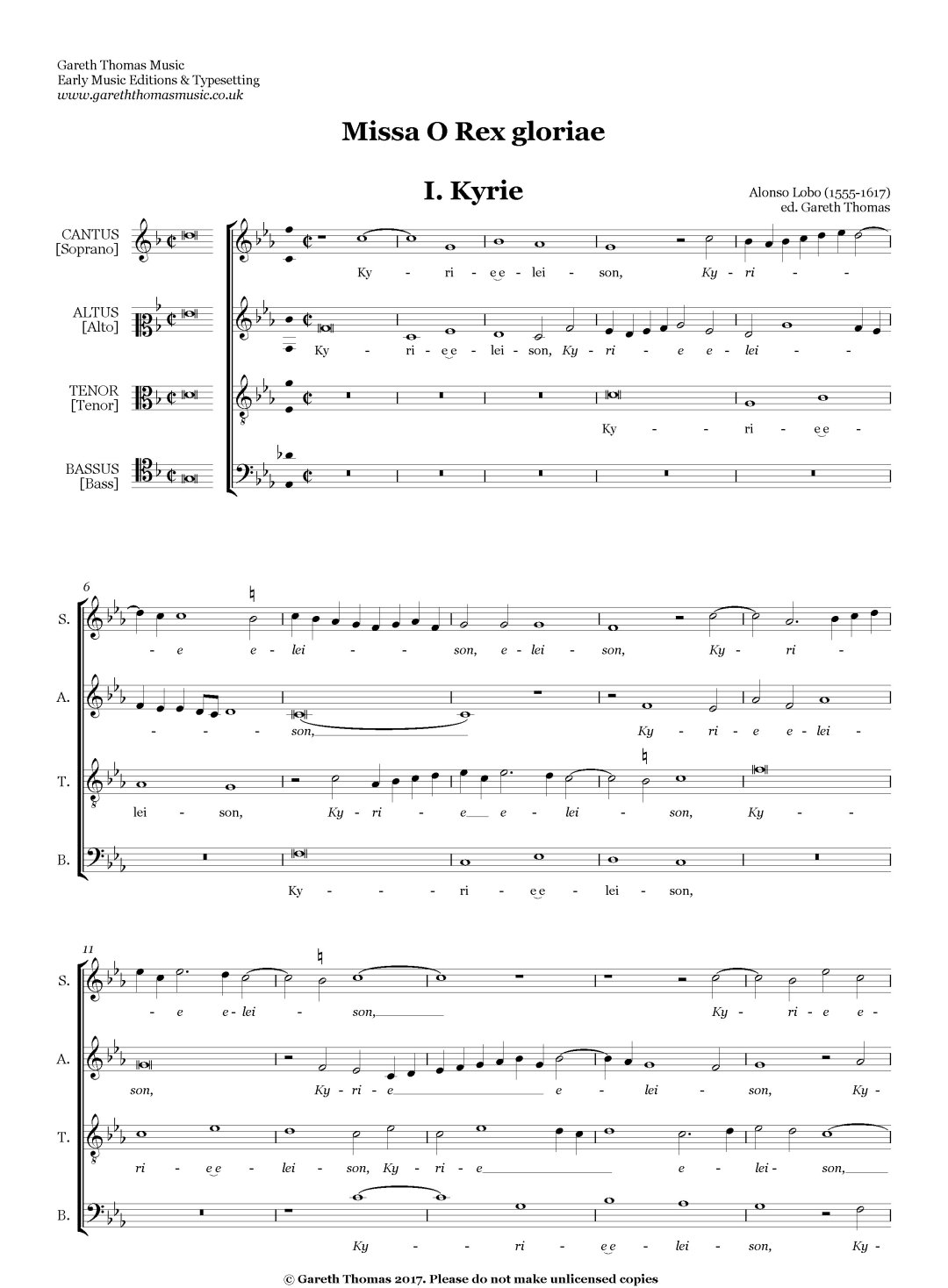 Alonso Lobo Missa O Rex gloria S(S)AT(T)B image
