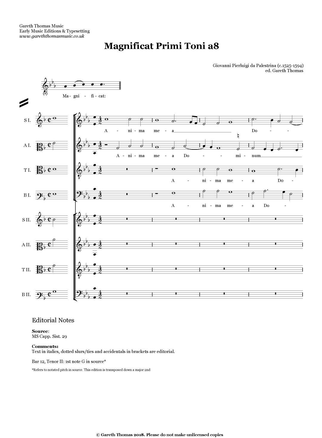Giovanni Pierluigi da Palestrina Magnificat Primi Toni a8 image