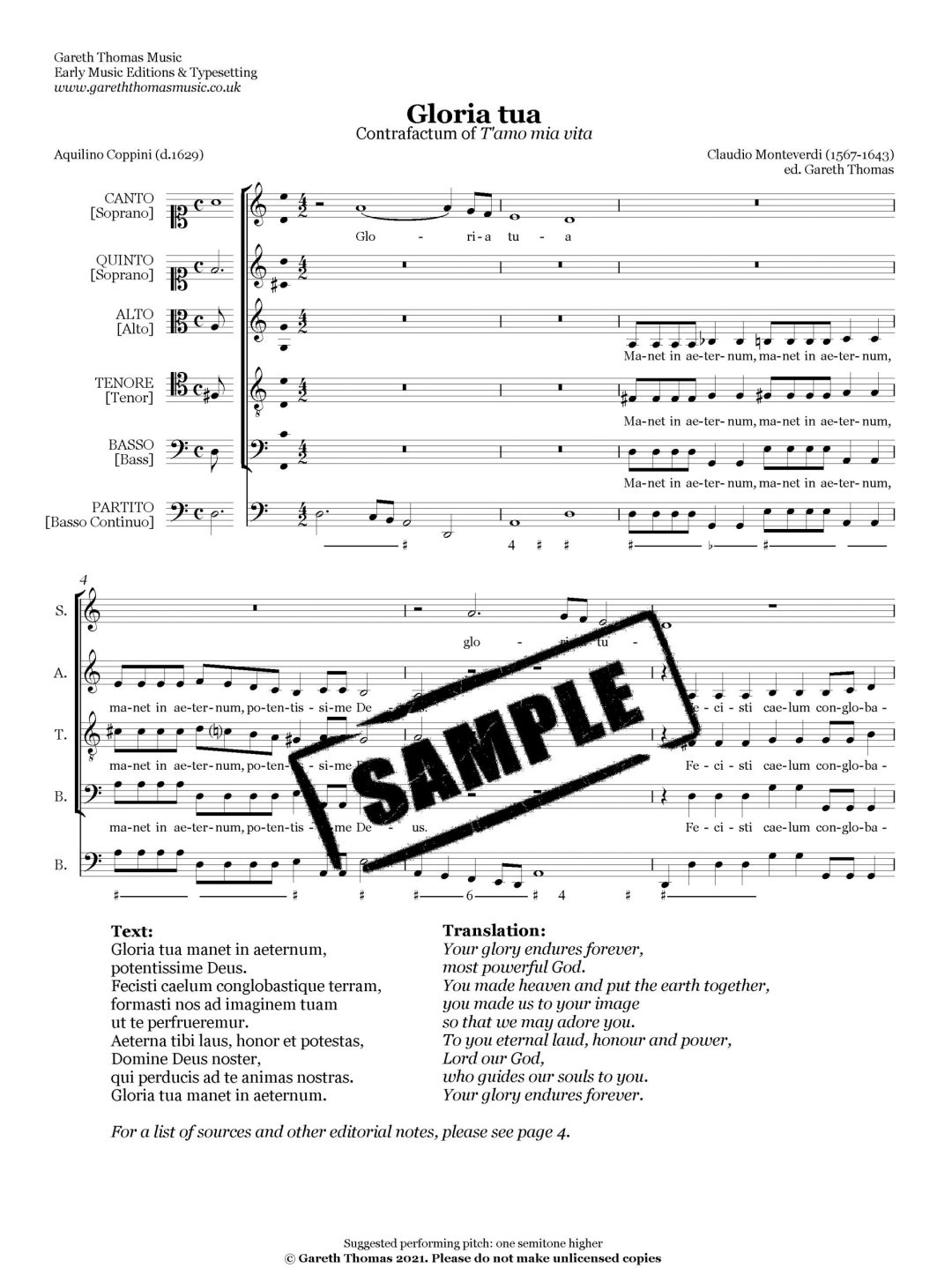 Claudio Monteverdi Gloria tua image