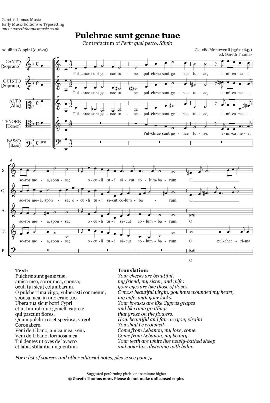 Claudio Monteverdi Pulchrae sunt image