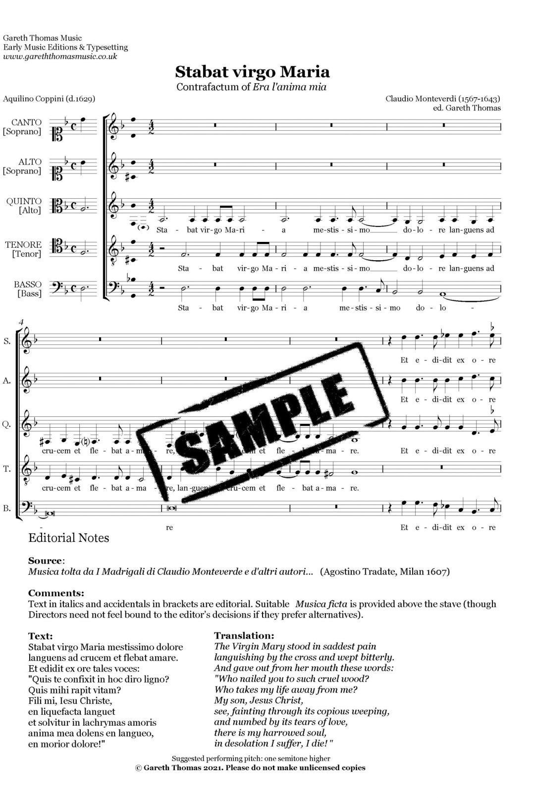 Claudio Monteverdi Stabat virgo image