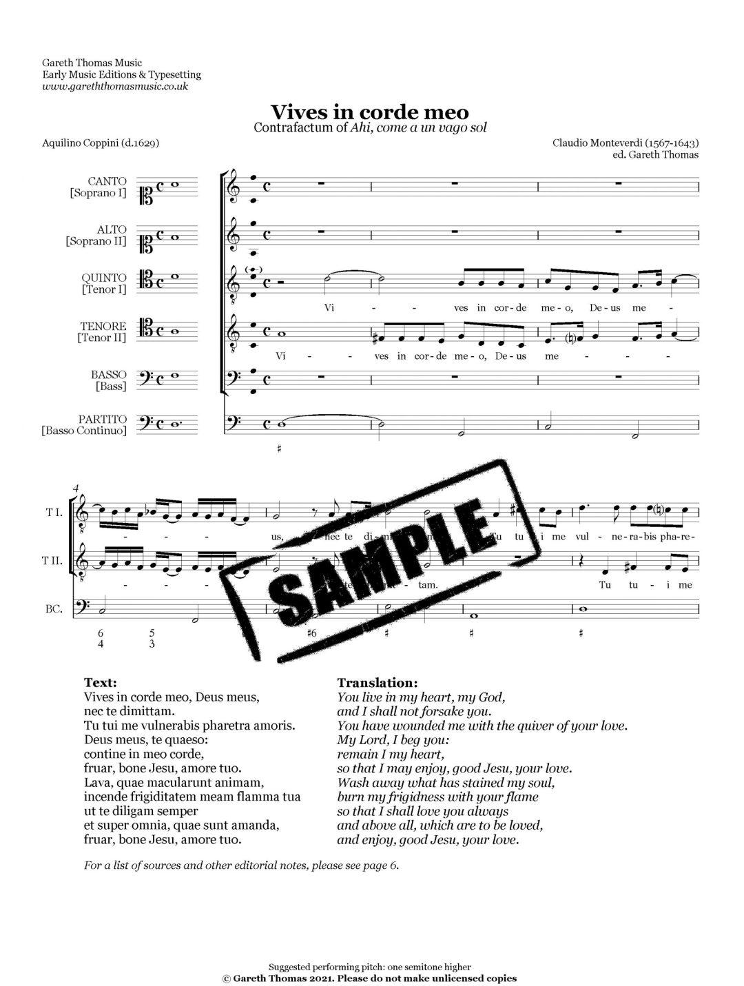 Claudio Monteverdi - Vives in corde meo image