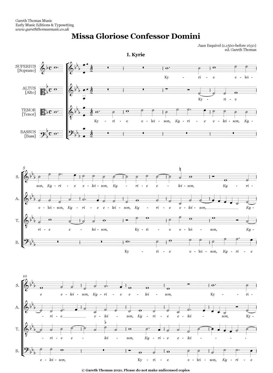 Juan Esquivel Missa Gloriose Confessor Domini image
