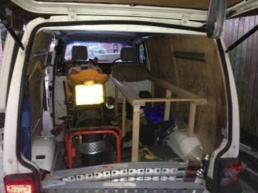 Bed Frame in the Back of Van
