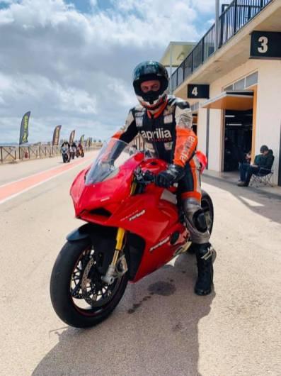 Garf 17 having a go on a fancy Ducati V4S