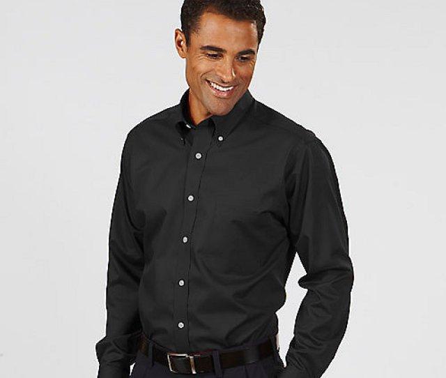 Black Van Heusen Mens Twill Long Sleeve Dress Shirts