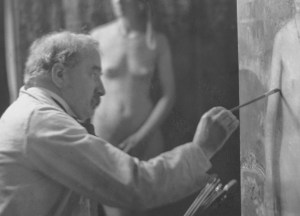 Gari Melchers painting in his New York Studio
