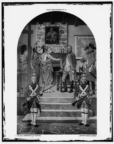 """Black and white image of Gari Melchers' """"Conspiracy of the Potomac"""" mural"""