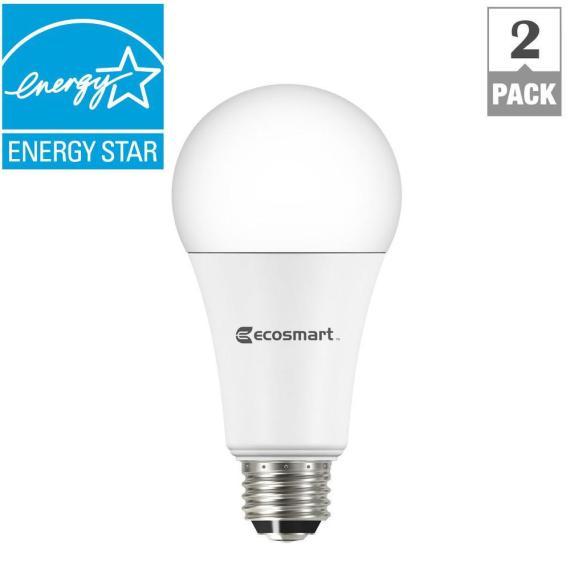 EcoSmart 40/60/100W Equivalent Soft White A21 3-Way LED Light Bulb (2-Pack)