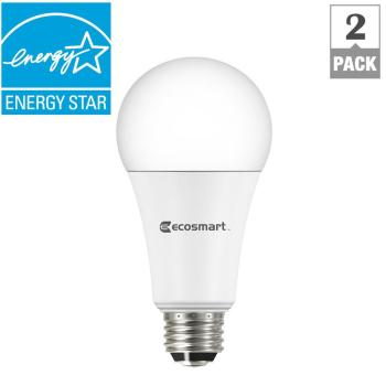EcoSmart 40/60/100W Equivalent Soft White A21 3-Way LED Light Bulb (2-Pack)